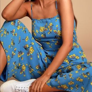 Blue Floral Print Wide-Leg Jumpsuit